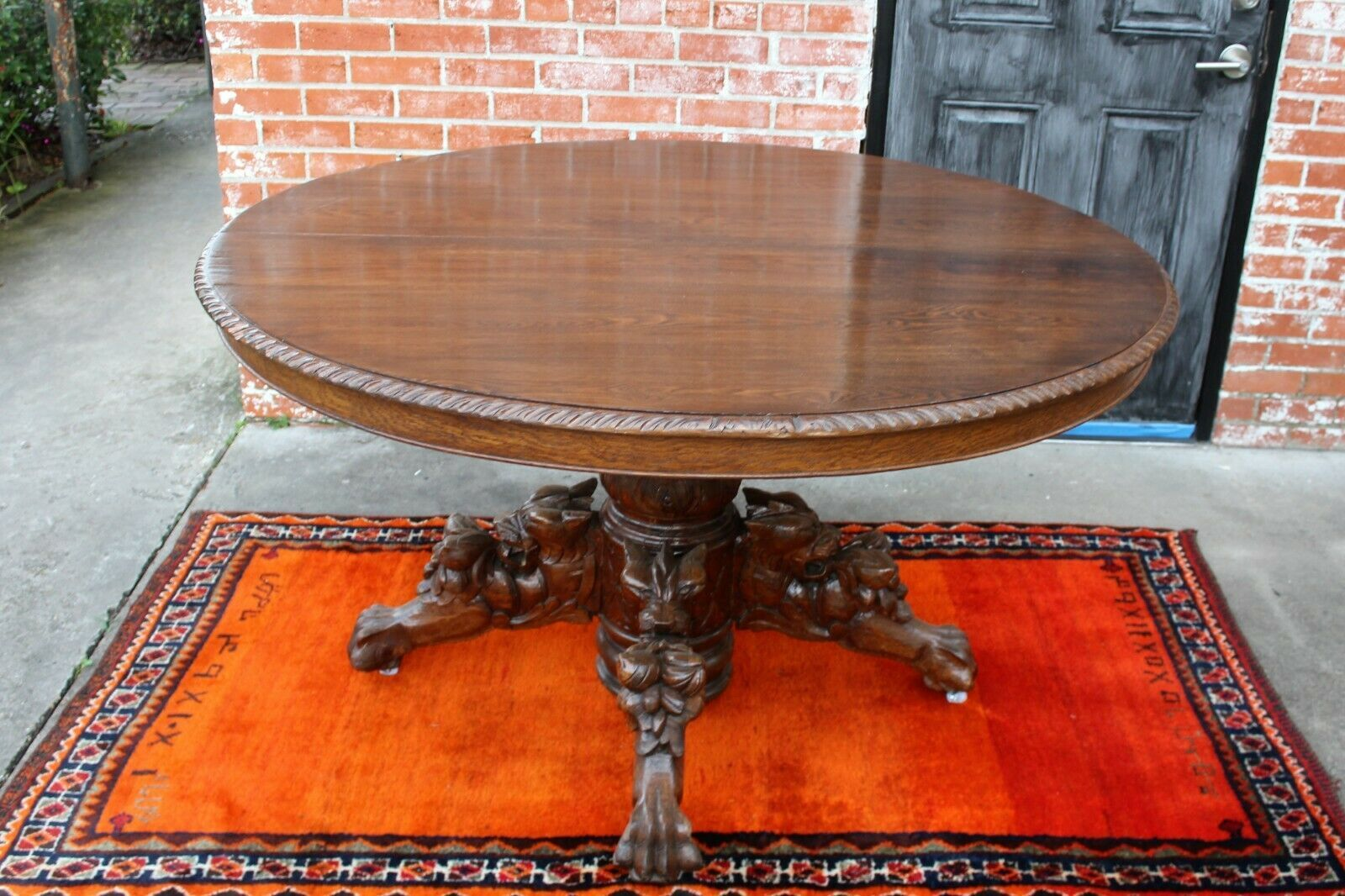 French Antique Oak Renaissance Hunt Scene Oval Dining Room Table With Leaf