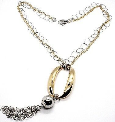 SILVER 925 NECKLACE, DOUBLE CHAIN ROLO', WHITE AND YELLOW, OVAL FRINGE, HANGING