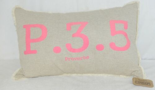The Message Pillow by Kate Winston Tan Pink Lettering Proverbs Chapter 3 verse 5