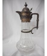 Victorian German Cut Glass 800 Silver Mounted Claret Jug - Pitcher Circa... - $1,153.85