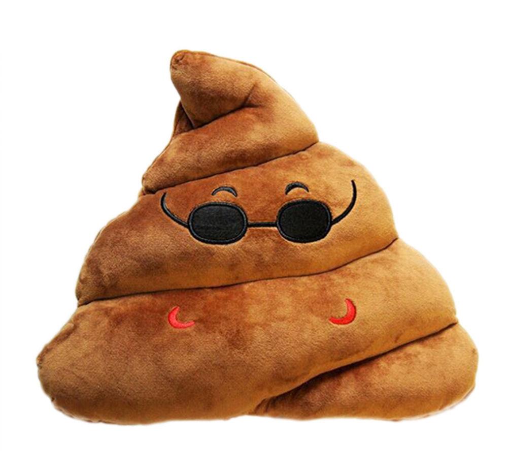 StylesILove 14-inch Emoji Smiley Poop Plush Stuffed Toy Throw Pillow
