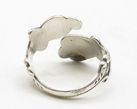 AVON 925 Silver- Vintage Love Heart & Floral Decor Bypass Band Ring Sz 8 - R5094 image 5