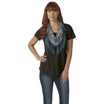One World Women's Short Sleeved Tee with Scarf Black Size M - $14.99