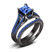 Princess Cut Sapphire 14K Black Gold Finish 925 Sterling Silver Bridal Ring Set - $118.99