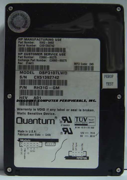 1.07GB 3.5IN 3H SCSI WIDE DIFF 68PIN 5062-9462 DSP3107LWD HP C3660-60275 Free US