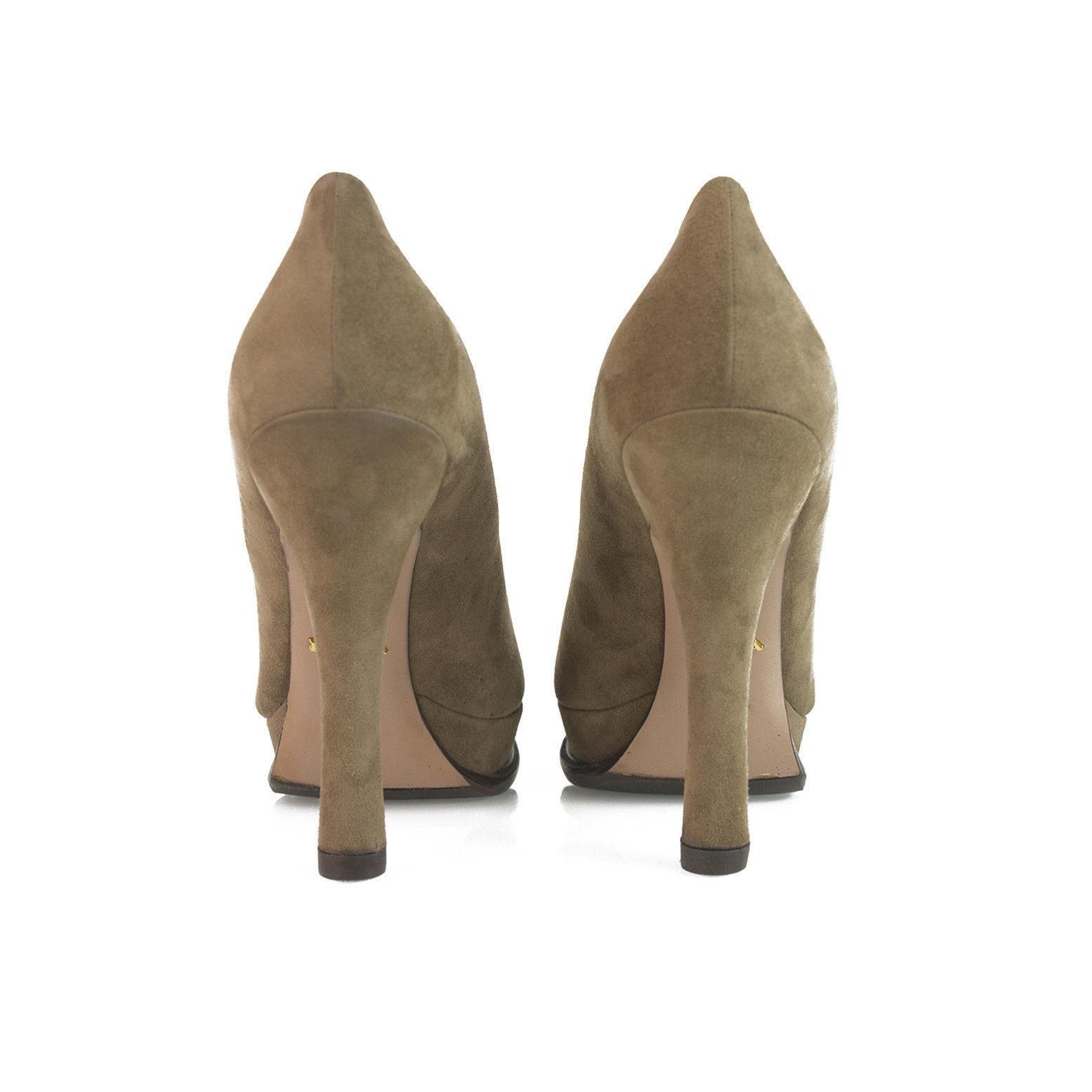Prada Taupe Brown Suede Leather Classic Pumps Round Toe Slim Heel Platform sz 40 image 7