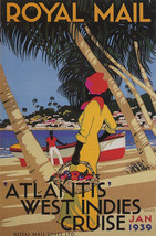 1939 Royal Mail Atlantis West Indies Cruise Beach Travel Vintage Poster Repro - $10.96+