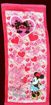 MINNIE MOUSE Heart Design 34 x 80 cm Daily Easy Use RED Color Cotton Towel - $10.99