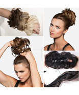 Real Natural Curly Messy Bun Hair Piece Scrunchie Hair Extensions Chigno... - $5.30
