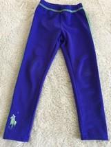 Ralph Lauren Girls Blue Green Leggings Snug Fit Pants 4 - $7.38
