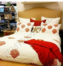 Pottery Barn Fan Coral Quilt Set White Red Queen 2 Standard Shams Retail $358 - $268.00