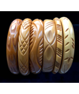 30s Art Deco Vtg Lot of 6 Genuine Bakelite Deeply Carved Bangle Bracelet... - $395.00