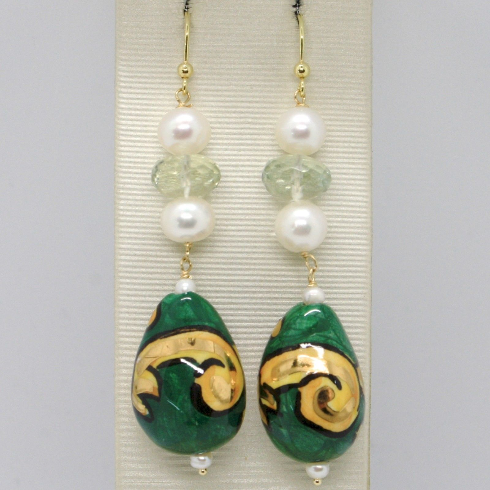 18K YELLOW GOLD EARRINGS PRASIOLITE PEARL CERAMIC BIG DROP HAND PAINTED IN ITALY