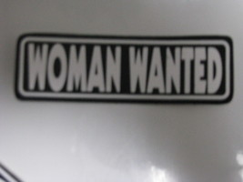 Hand made Decal sticker WOMAN WANTED hard construction hat - $19.98