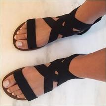 2018 Summer Roman Sandals Sexy Women Black/blue Bandage Beach Shoes Fashion Sexy