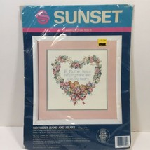 """Mother's Hand and Heart Cross Stitch Kit Sunset 12"""" x 12"""" - $19.34"""