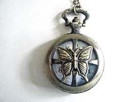 Butterfly Pocket Watch Necklace Gold Tone Ornate Quartz Battery Included... - $19.75