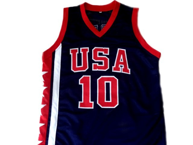 Mike Bibby #10 Team USA Basketball Jersey New Sewn Navy Blue Any Size