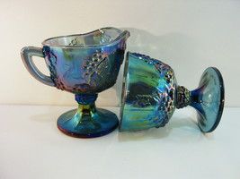 Indiana Grape Carnival Creamer and Sugar Blue Iridescent Footed Lots of ... - $23.95