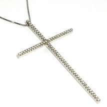 Necklace White Gold 750 18K Large cross 6.3 cm, Diamond 0.65 Chain, Veneta - $2,944.34