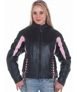 BLACK & PINK LADIES LEATHER MOTORCYCLE JACKET MED, XL, 2XL OR 4XL SALE N... - $79.99+