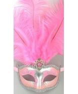 "Light Pink Silver Venetian Mask Feather Masquerade Mardi Gras 12"" New - $17.05"