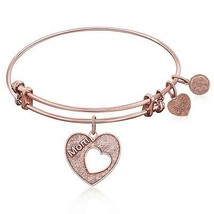 Expandable Bangle in Pink Tone Brass with Mother's Special Love Symbol - $24.75