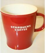 Starbucks 2008 Mug Coffee Cup Red White Embossed Lettering 14oz - $29.95