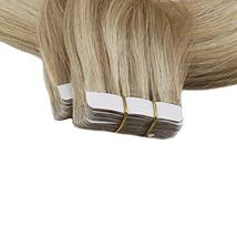 Art Hair Tape Human Hair Extensions 16 Inches Color 16P24 Golden Blonde Mix Ligh image 4