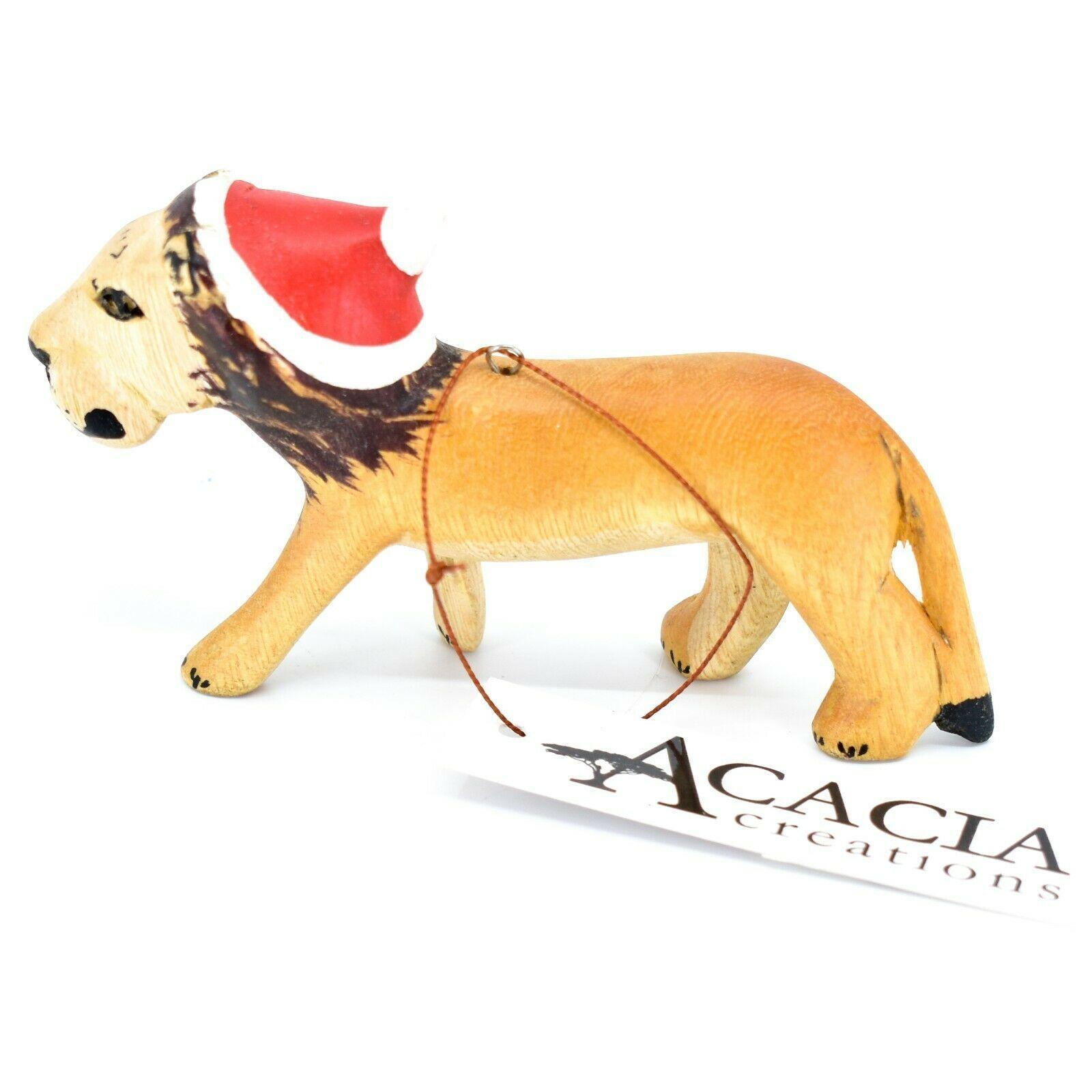 Hand Carved & Painted Jacaranda Wood Santa Hat Lion Safari Christmas Ornament