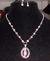 Vtg Silver Tone Amethyst Cabochon Stone Glass Beaded Necklace & Earring Set - $12.38