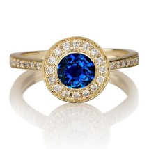 Engagement Ring Round Cut Blue Sapphire 18k Yellow Gold Plated Solid 925... - $95.38 CAD