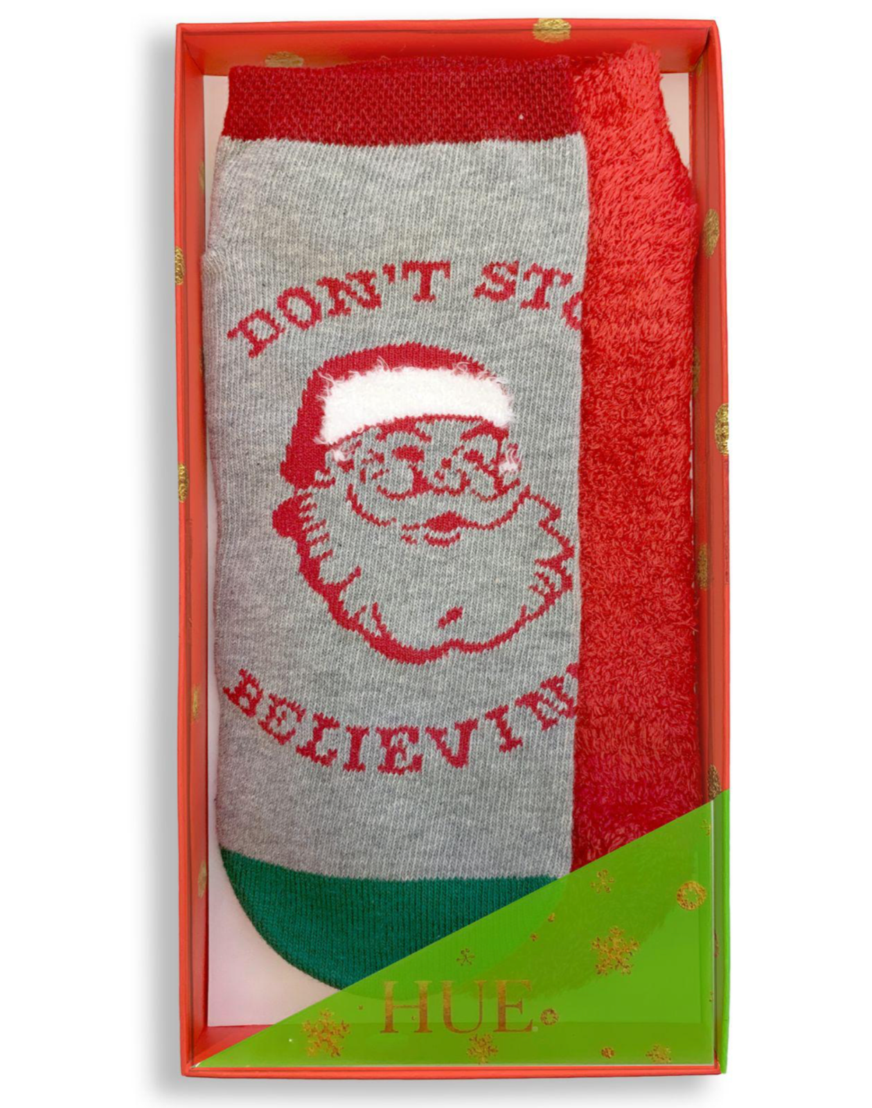 HUE 2-pack Footsie Socks Gift Box Gray Don't Stop Believin
