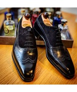 New Men's Handmade Black Leather & Suede Shoes, Lace Up Dress Wing Tip S... - $179.99+
