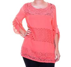 4262 Calvin Klein Women's XL Pink Mixed Lace Roll Sleeve Top - $18.50