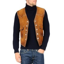 Biker Style Men Suede Leather Vest