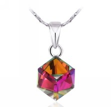 Unique Style Cube White Gold Gp Crystal Zircon Fashion Lady Special Chain P - $34.70