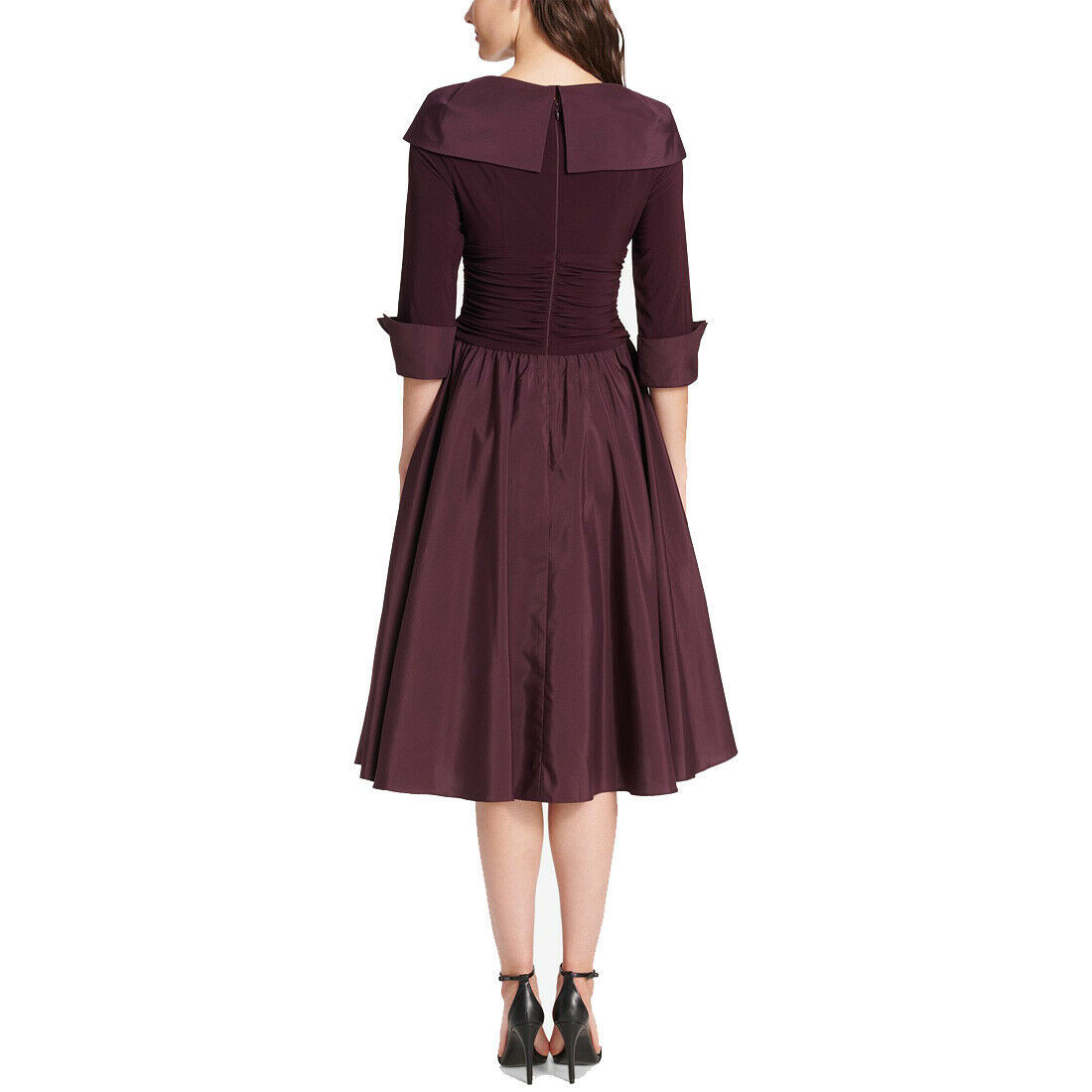 Jessica Howard Portrait-Collar A-Line Dress, Eggplant, 14W
