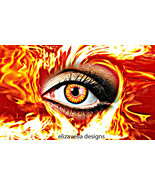flaming eye fire abstract printable wall art in... - $6.99