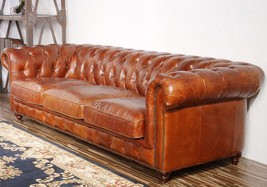 """96"""" Brown Genuine Leather Chesterfield Roll Arm Tufted Sofa Nailhead 3 C... - €3.020,06 EUR"""