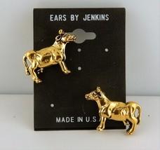 3D Gold Plated Cow post earrings Heifer - $6.74