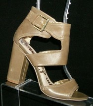 Sam Edelman 'Yana' olive leather ankle strap cut out sandal block heels 6M - $33.30