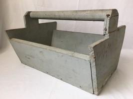 Vintage Handmade Wooden Tool Caddy Box Carpenter Toolbox Herb Garden Pla... - $39.55