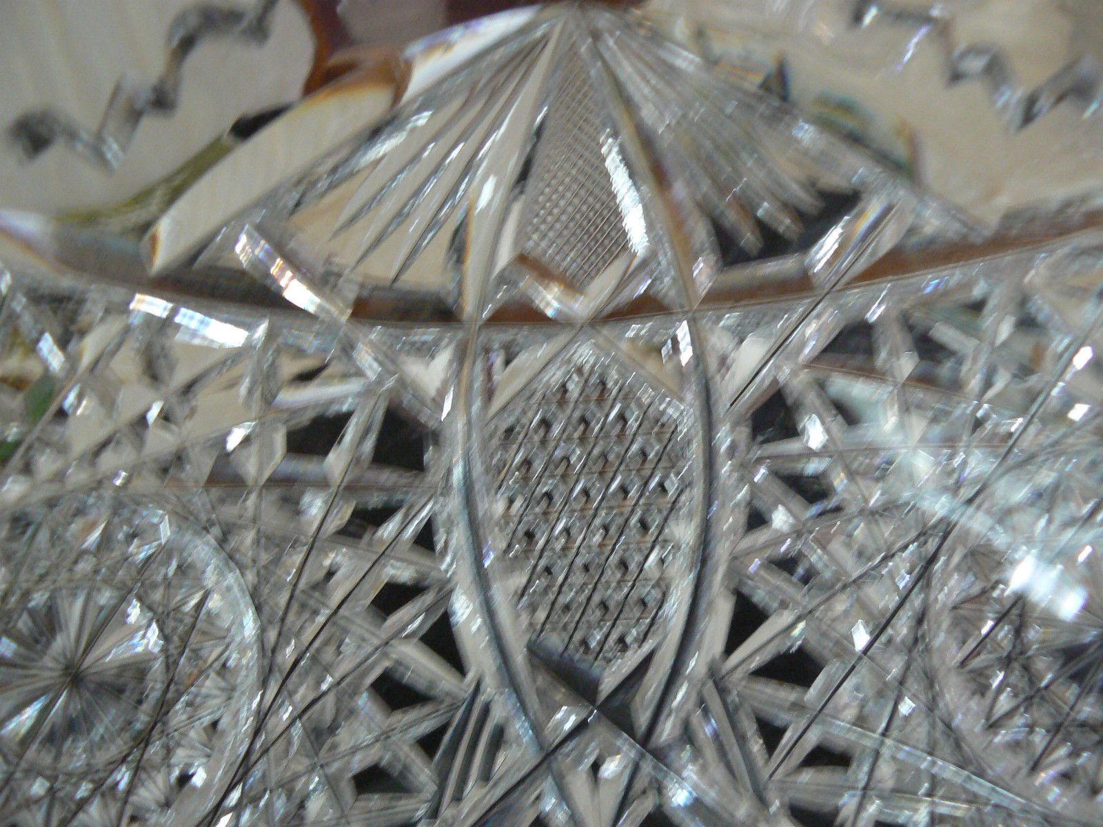 Exquisite American Brilliant Period Cut Crystal Star Diamond Straus Punch Bowl