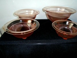 4  Vintage Pink Federal Rose Glow Nesting Mixing Bowls Ribbed & Rolled Edge - $39.39