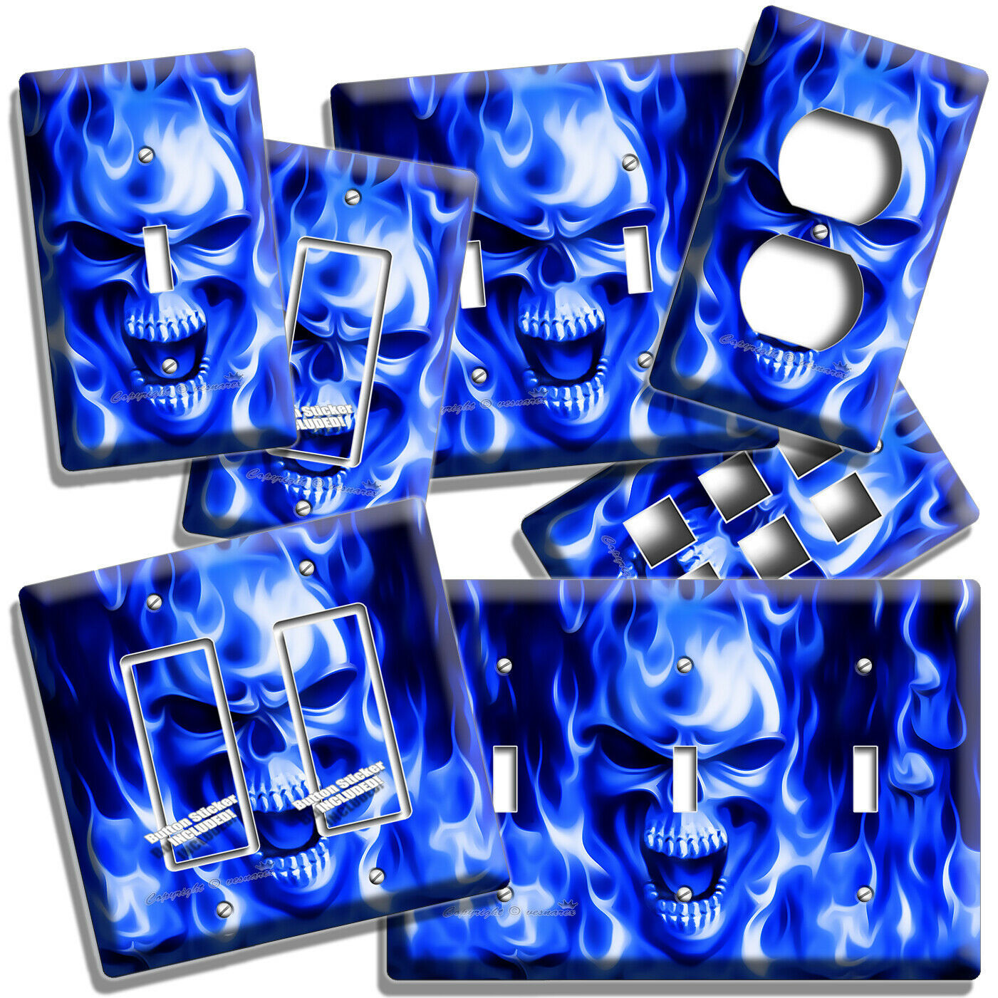 ANGRY BLUE FLAMES BURNING SCULL LIGHT SWITCH OUTLET WALL PLATE MAN CAVE HD DECOR