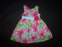 Rare Editions Girls Turquoise Pink Floral Sleeveless Dress Size 4 Easter - $12.86