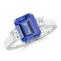 2.4ct Three Stone Emerald-Cut Tanzanite Diamond Ring in Gold/Platinum Si... - $2,098.28+