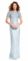 Adrianna Papell Sheer Short Sleeve Beaded Dress Slit Skirt, Blue Heather, 0 - $168.29
