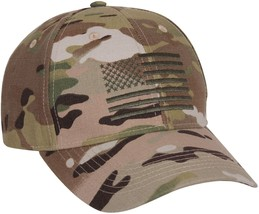 MultiCam Low Profile Military Cap w/ Embroidered US Flag - $12.99